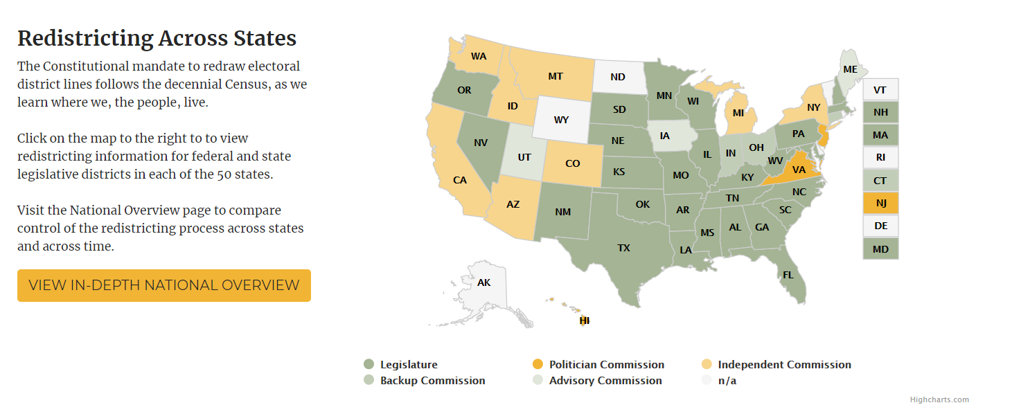 Redistricting Across States Map from Redistricting.lls.edu