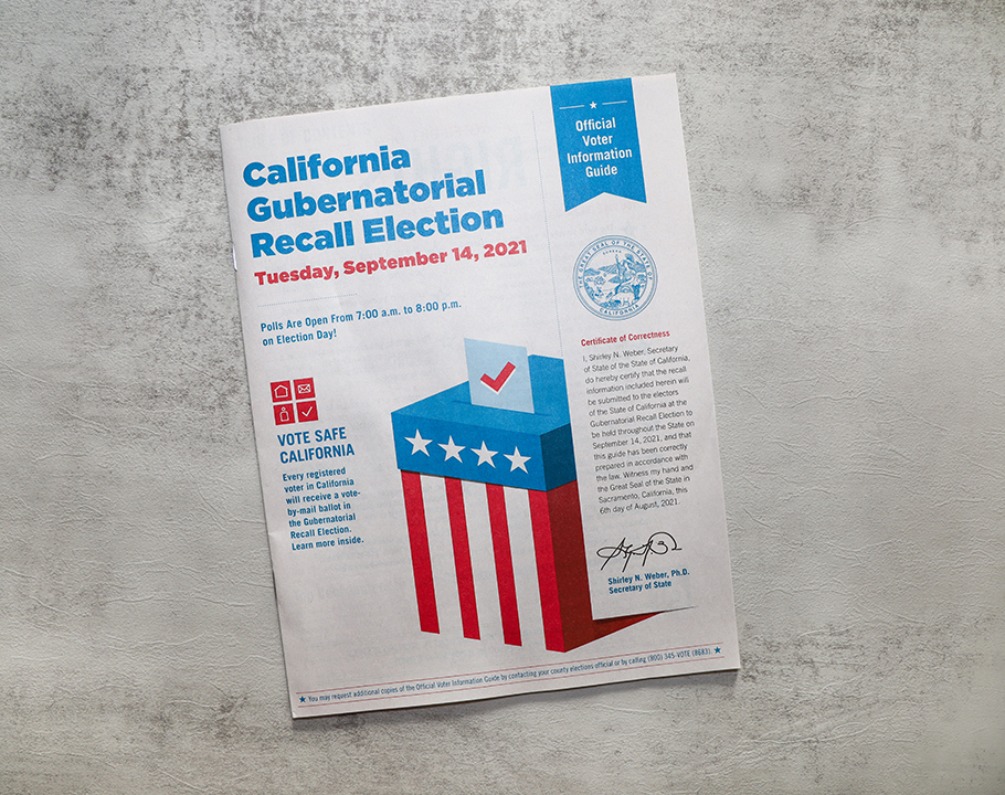The official voter information guide for the California Recall Election on September 14, 2021.