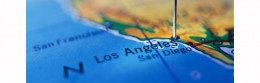 Los Angeles Marked on a Map